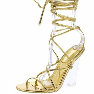 Gold clear wedges ankle tie wrap by Cape Robbin